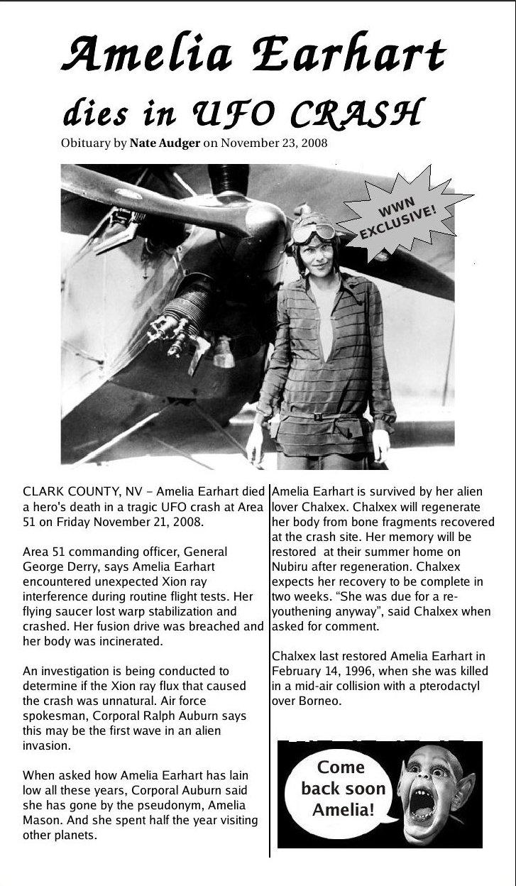 WWN Amelia Earhart dies in UFO crash